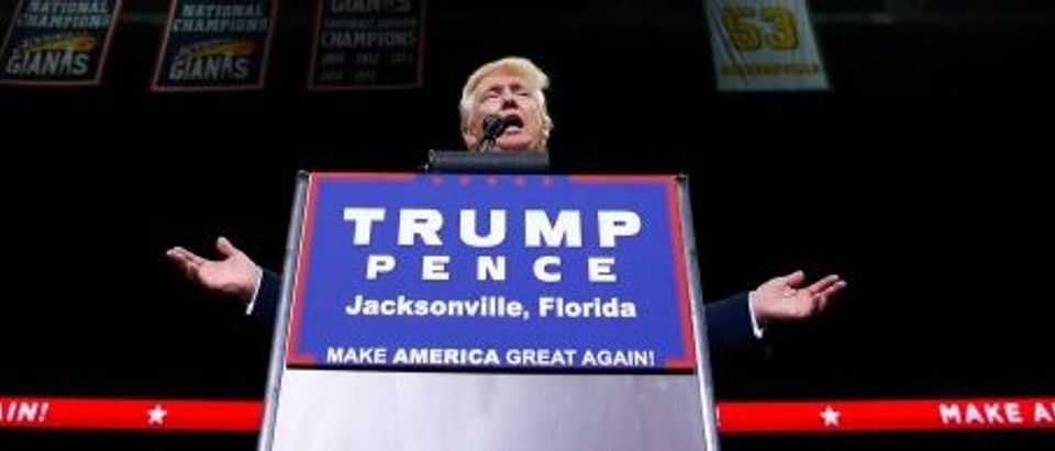 Republican presidential nominee Donald Trump attends a campaign event at the Jacksonville Veterans Memorial Arena in Jacksonville, Florida
