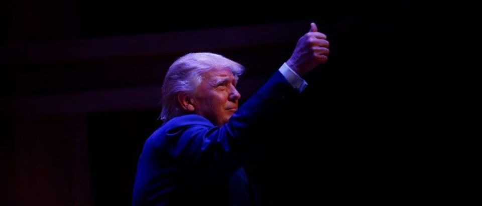 Republican U.S. Presidential nominee Donald Trump attends a campaign event at the Merrill Auditorium in Portland, Maine