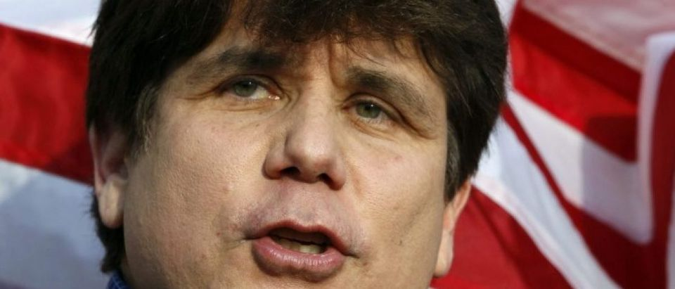 Former Governor of Illinois Blagojevich makes a statement to reporters outside his Chicago home