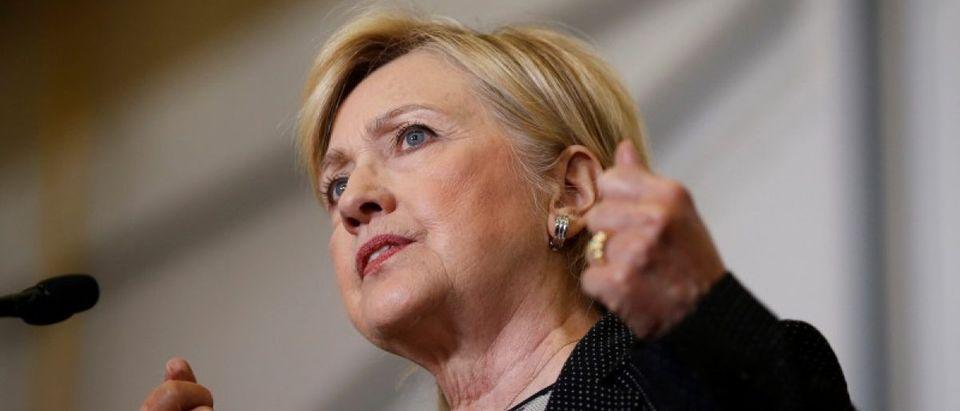 U.S. Democratic presidential nominee Hillary Clinton speaks at Futuramic Tool & Engineering in Warren