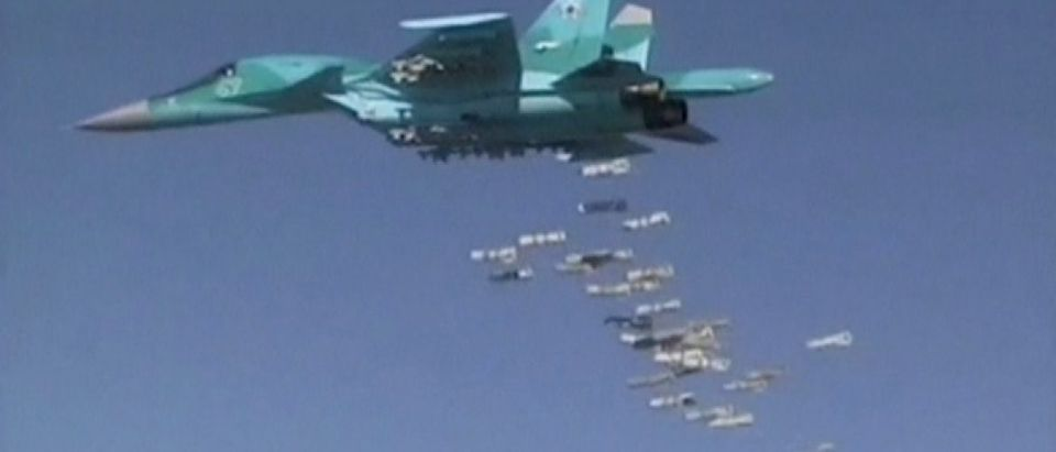 Still image shows shows airstrikes carried out by Russian air force in Syria