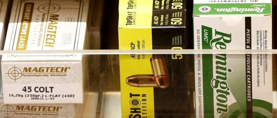 Boxes containing ammunition of different types are seen at Wyss Waffen gun shop in Burgdorf