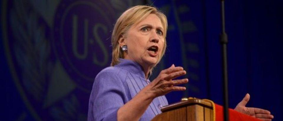 Democratic presidential nominee Hillary Clinton addresses the National Convention of the American Legion in Cincinnati