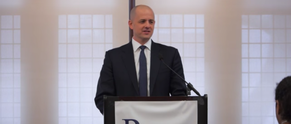 Evan McMullin announced his bid for the presidency on August 8, 2016. Youtube screenshot.