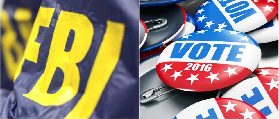 FBI Logo: Debradacija/shutterstock.com, Election badges: 3dfoto/shutterstock.com