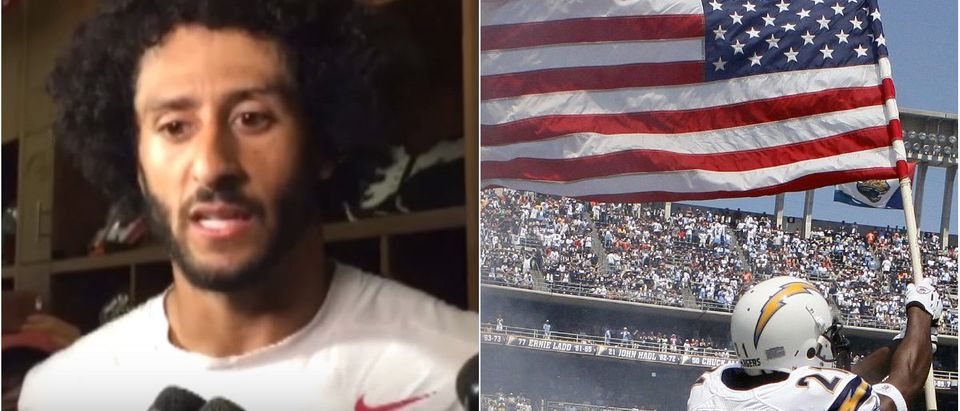 Colin Kaepernick: YouTube Screengrab via Secular Talk, Chargers Player With American Flag: Lucy Nicholson/Reuters