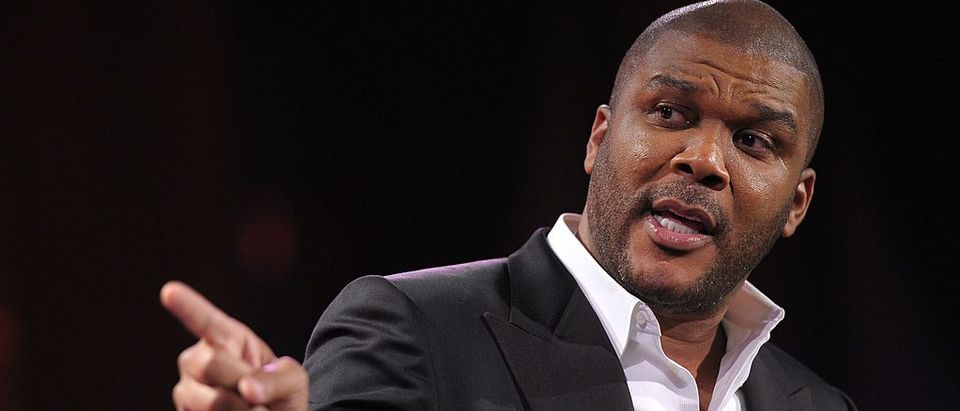 Director Tyler Perry speaks onstage at the 2nd annual Steve Harvey Foundation Gala at Cipriani, Wall Street on April 4, 2011 in New York City