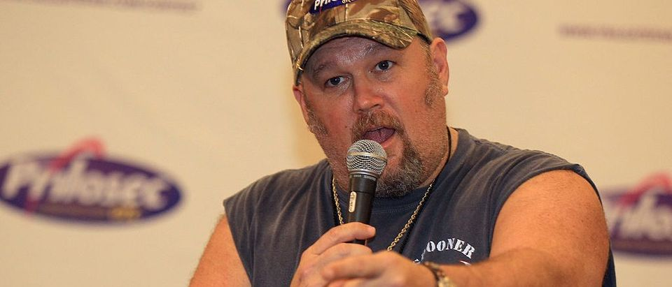 Larry the Cable Guy speaks during a press conference for the Prilosec Madden Protectors Award at at the Super Bowl XLVI Media Canter in the J.W. Marriott Indianapolis on February 1, 2012 in Indianapolis, Indiana