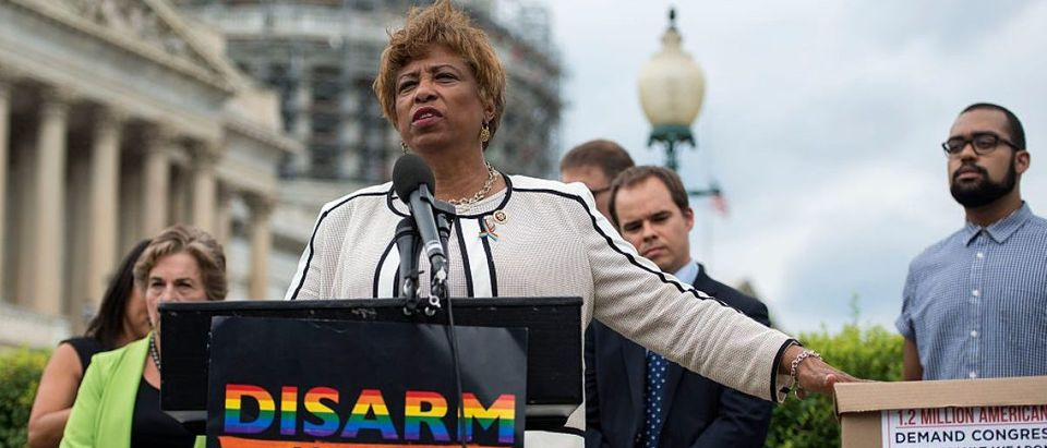 Representative Brenda Lawrence joins members of MoveOn.org and members of Congress at an event to demand congress renew an assault weapons ban, along with delivering more than one million signed petitions, at United States Capitol Building on July 12, 2016 in Washington, DC. (Photo by Leigh Vogel/Getty Images for MoveOn.org)