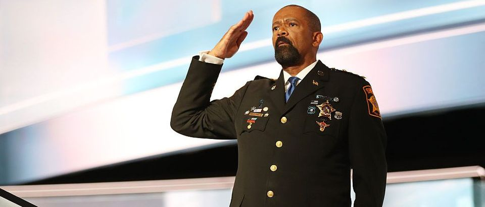 Milwaukee County Sheriff David Clarke salutes the crowd prior to delivering his speech on the first day of the Republican National Convention (Getty Images)