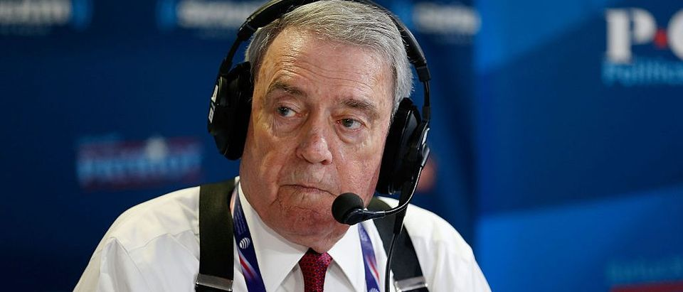 Dan Rather records an episode of his show, Dan Rather's America, on SiriusXM at Quicken Loans Arena on July 20, 2016 in Cleveland, Ohio