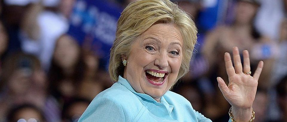 Democratic presidential candidate former Secretary of State Hillary Clinton attends a campaign rally at Florida International University Panther Arena on July 23, 2016 in Miami. (Photo by Gustavo Caballero/Getty Images)