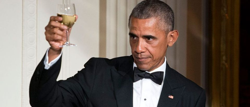 Barack Obama makes a toast in honor of Prime Minister Lee Hsien Loong in the East Room of the White House (Getty Images)