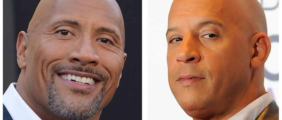 "(FILES): These two file photos show actor Dwayne Johnson (L) during the Warner Bros premiere of ""Central Intelligence"" in Westwood, California, on June 10, 2016; and actor Vin Diesel"