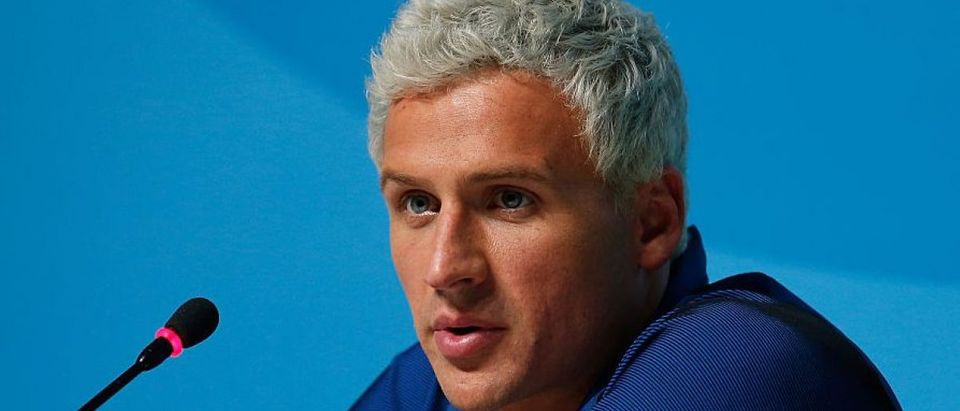 Ryan Lochte of the United States attends a press conference in the Main Press Center on Day 7 of the Rio Olympics on August 12, 2016 in Rio de Janeiro, Brazil