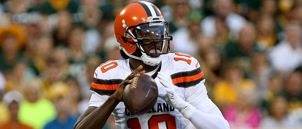Robert Griffin #10 of the Cleveland Browns drops back to pass in the first quarter against the Green Bay Packers at Lambeau Field on August 12, 2016 in Green Bay, Wisconsin