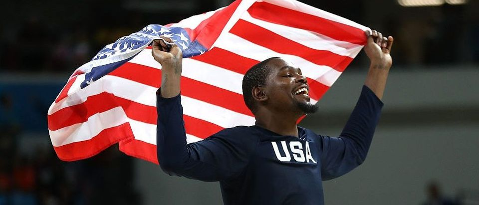 Kevin Durant of United States celebrates after defeating Serbia during the Men's Gold medal game on Day 16 of the Rio 2016 Olympic Games at Carioca Arena 1 on August 21, 2016 in Rio de Janeiro, Brazil