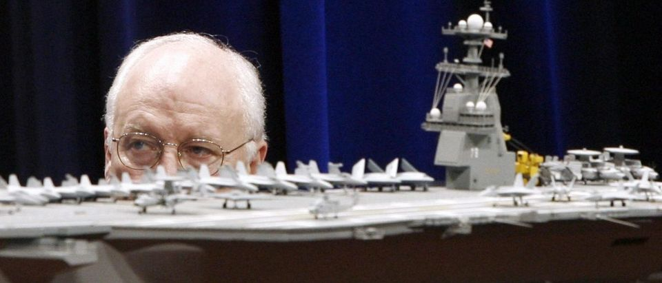Former Vice President Dick Cheney Looks at Model Of USS Gerald R Ford