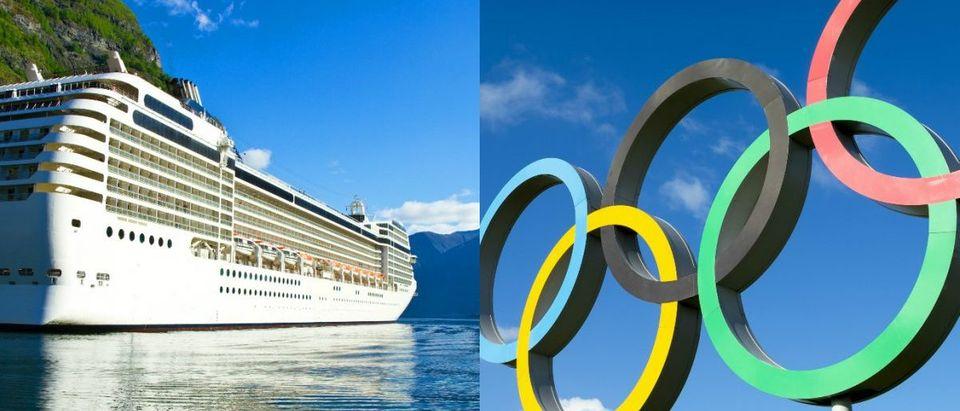 Olympic Rings lazyllamaShutterstock.com, Norwegian Cruise Ship lsantilliShutterstock.com