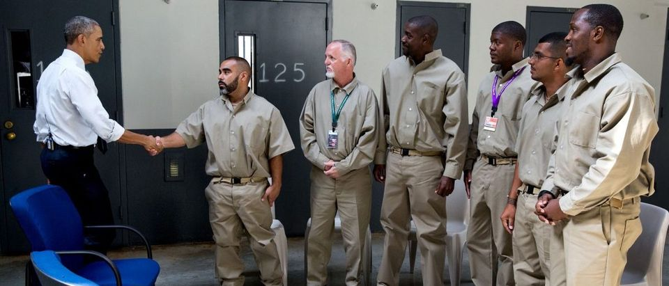 President Obama greets inmates during a visit to El Reno Federal Correctional Institution in El Reno, Okla., July 16, 2015. (Official White House Photo by Pete Souza)