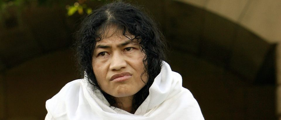 Sharmila reacts during interview with Reuters in New Delhi