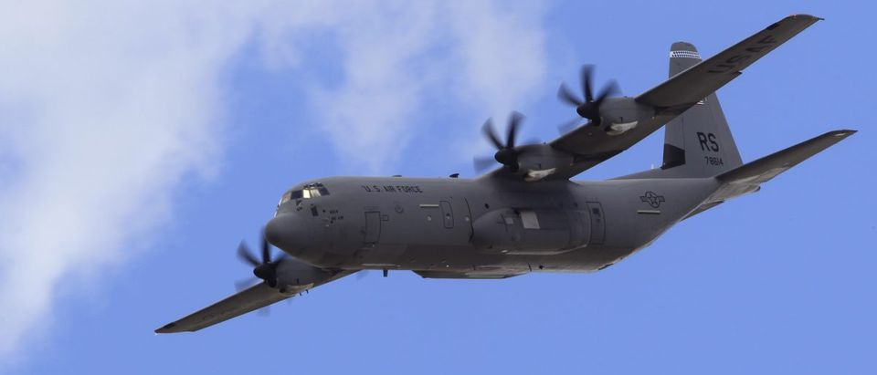A C-130J aircraft takes part in a flying display during the 49th Paris Air Show at the Le Bourget airport