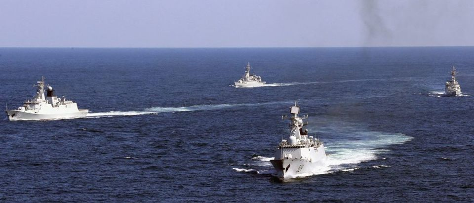 Vessels roam the waters of the East China Sea during a naval exercise