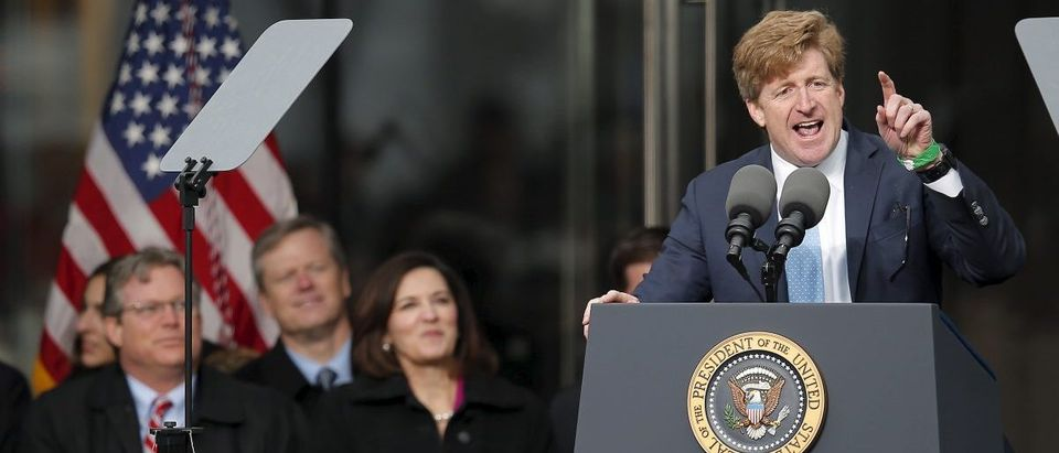 Former U.S. Congressman Patrick Kennedy speaks during dedication ceremonies for the Edward M. Kennedy Institute in Boston