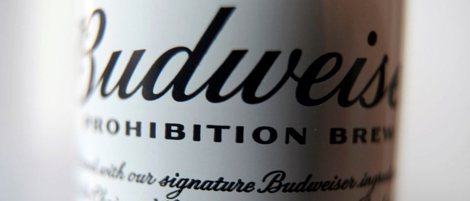 A can of Budweiser Prohibition Brew, a non-alcoholic beer, is seen in Toronto