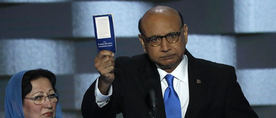 Khizr Khan speaks during the last night of the Democratic National Convention in Philadelphia. REUTERS/Mike Segar.