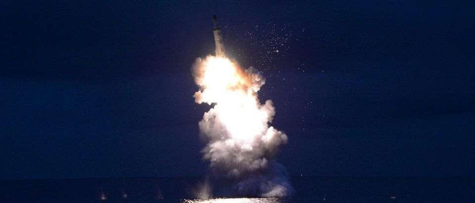 KCNA photo of test-fire of strategic submarine-launched ballistic missile