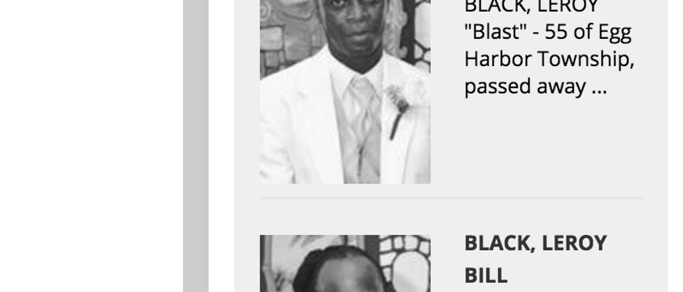 Press of Atlantic City Online Obituary screenshot