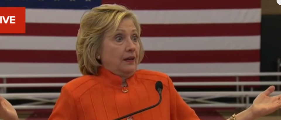 Hillary Clinton discussing her email server. Youtube screen grab