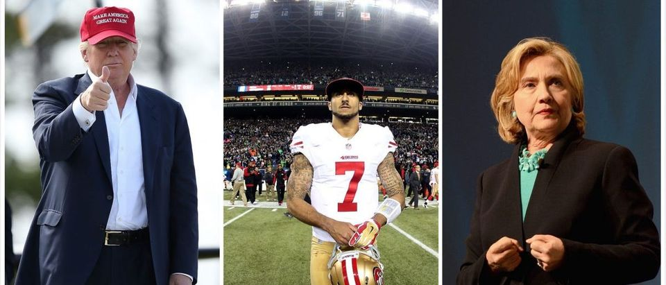 Kaepernick, Trump, Clinton (Credit: Getty Images)