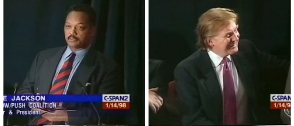 Jesse Jackson, Donald Trump at the 1998 Rainbow PUSH Wall Street Conference (YouTube)