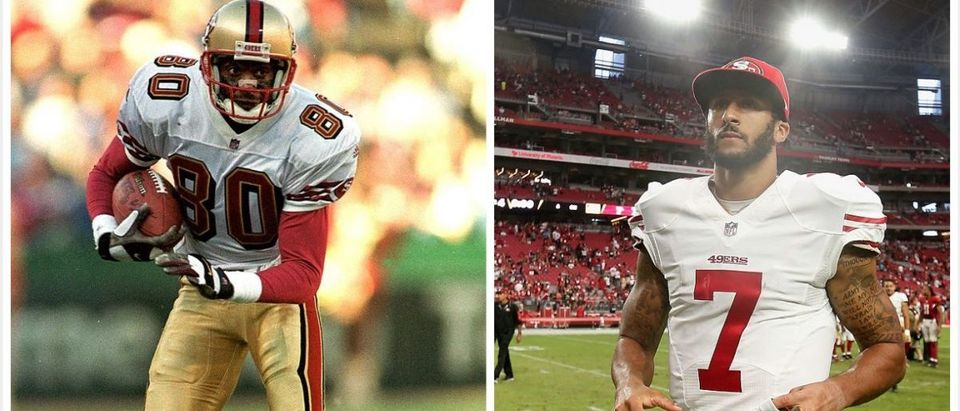 Jerry Rice, Colin Kaepernick (Credit: Getty Images)