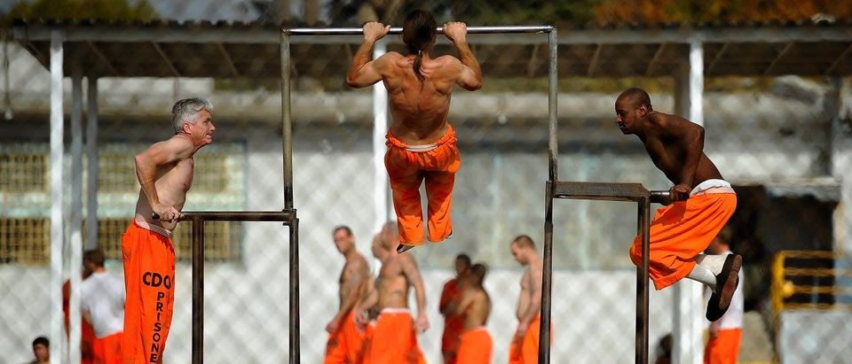 Inmates at Chino State Prison exercise in the yard December 10, 2010 in Chino, California. Photo: Kevork Djansezian/Getty Images