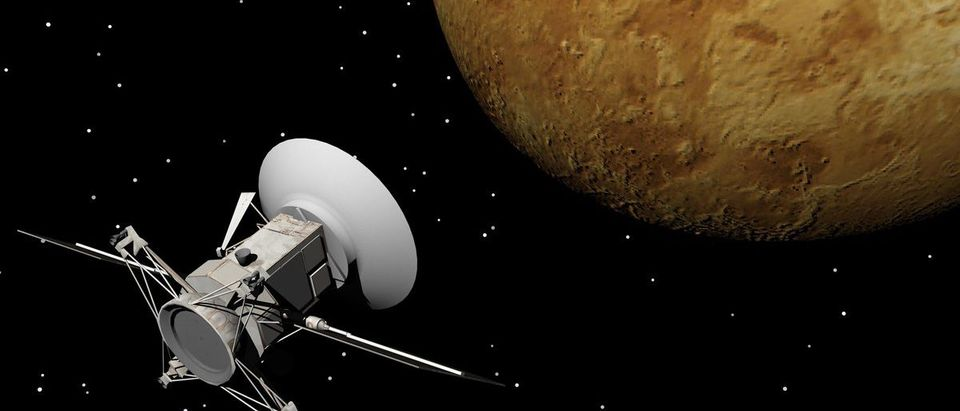 Stock Photo: Magellan spacecraft near Venus planet by night - Elements of this image furnished by NASA (Shutterstock/Elenarts)