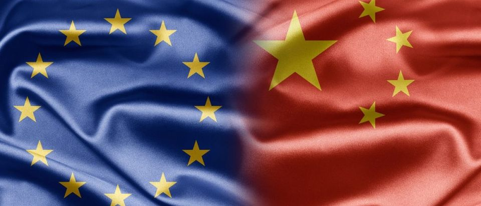 EU FLag and Chinese Flag: ruskpp/shutterstock.com