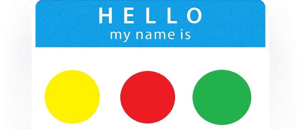 Color-coded name tag. [Shutterstock/vector illustration]