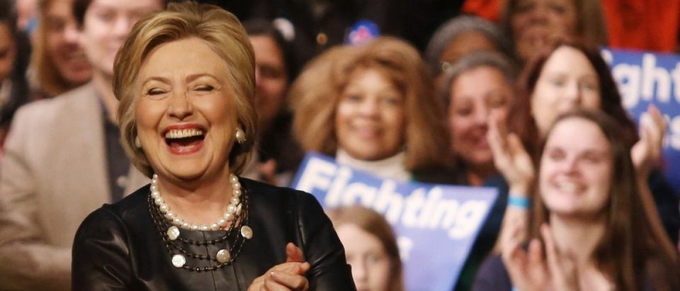 New York City, New York, USA, March 31, 2016; Democratic Presidential Candidate Hillary Clinton laughs after speaking at the Apollo Theater in Harlem, New York City. [Shutterstock - Krista Kennell - 398606557]