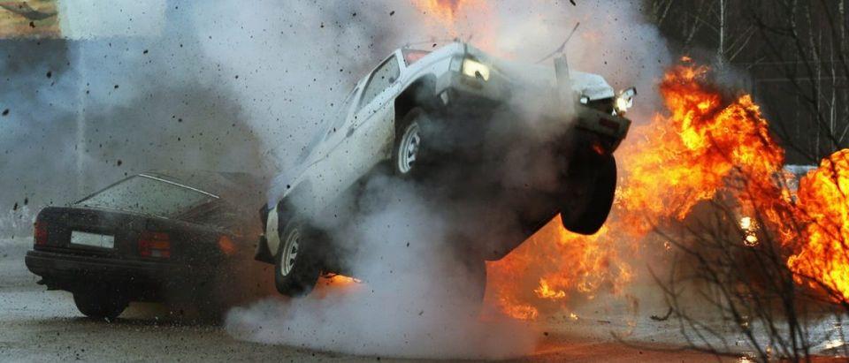Car crash on iced highway. Stunt. (Credit: Tatiana Belova/Shuterstock)