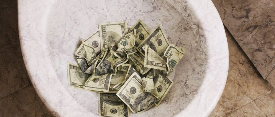 Dirty toilet with money. Credit: iordani/Shutterstock