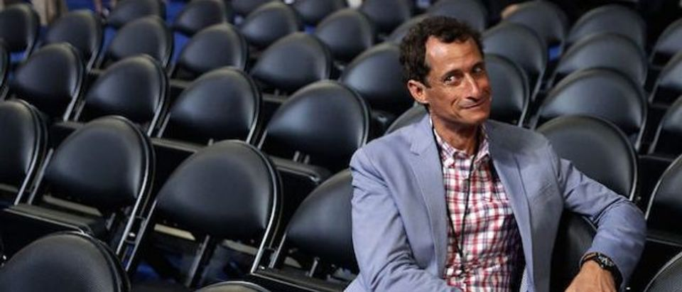 Former New York congressman Anthony Weiner attends the start of the second day of the Democratic National Convention at the Wells Fargo Center, July 26, 2016 in Philadelphia