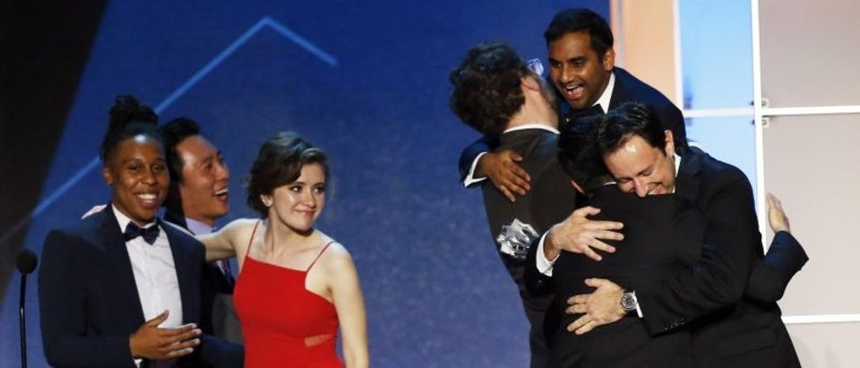 Aziz Ansari celebrating during the 21st Annual Critics' Choice Awards in Santa Monica
