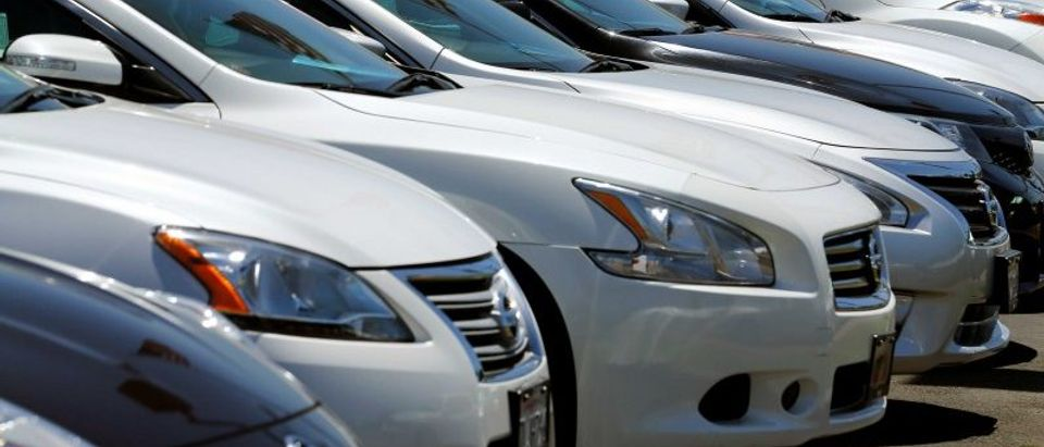 Automobiles are shown for sale at a car dealership in Carlsbad California