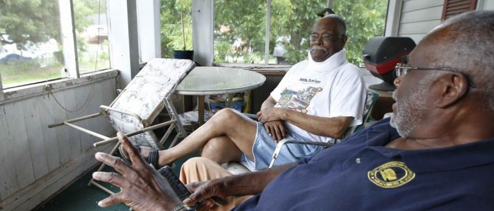 Louis Brooks (L), talks with Henry Wilder with the Thomaston-Upson County Branch of the NAACP in the Lincoln Park neighborhood in Thomaston, Georgia, U.S. August 16, 2016. REUTERS/Tami Chappell