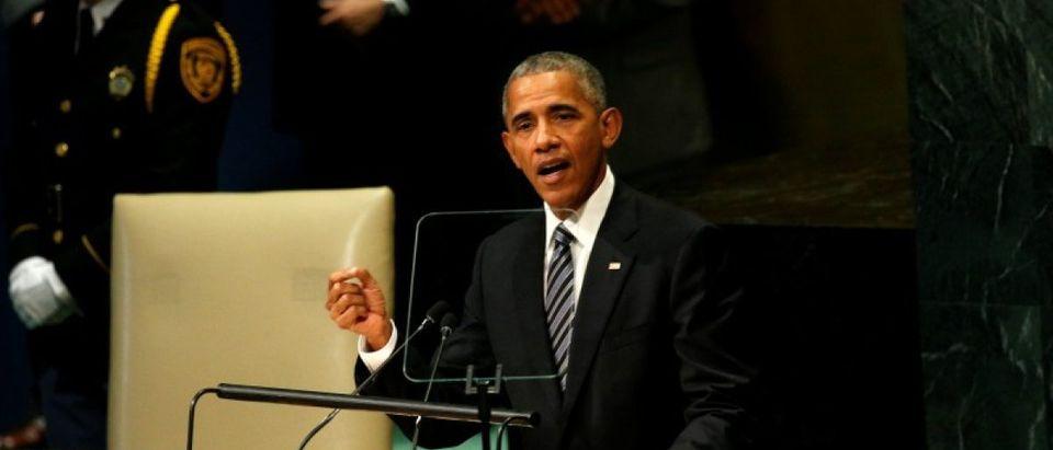 U.S. President Barack Obama addresses the United Nations General Assembly in New York September 20, 2016. REUTERS/Kevin Lamarque