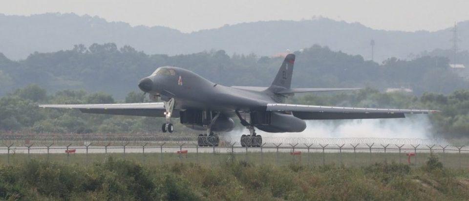 A U.S. Air Force B-1B bomber lands Osan Air Base in Pyeongtaek