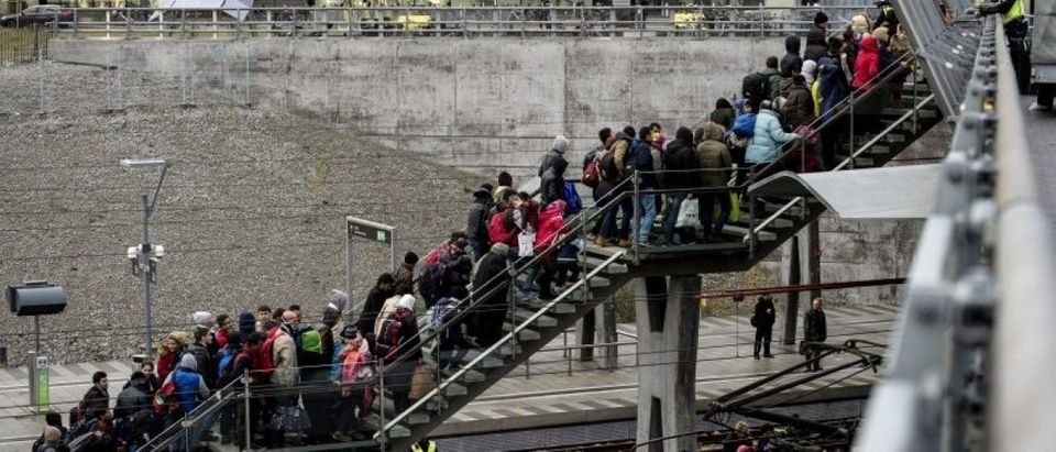Police organize a line of refugees on a stairway leading up to trains arriving from Denmark at the Hyllie train station outside Malmo